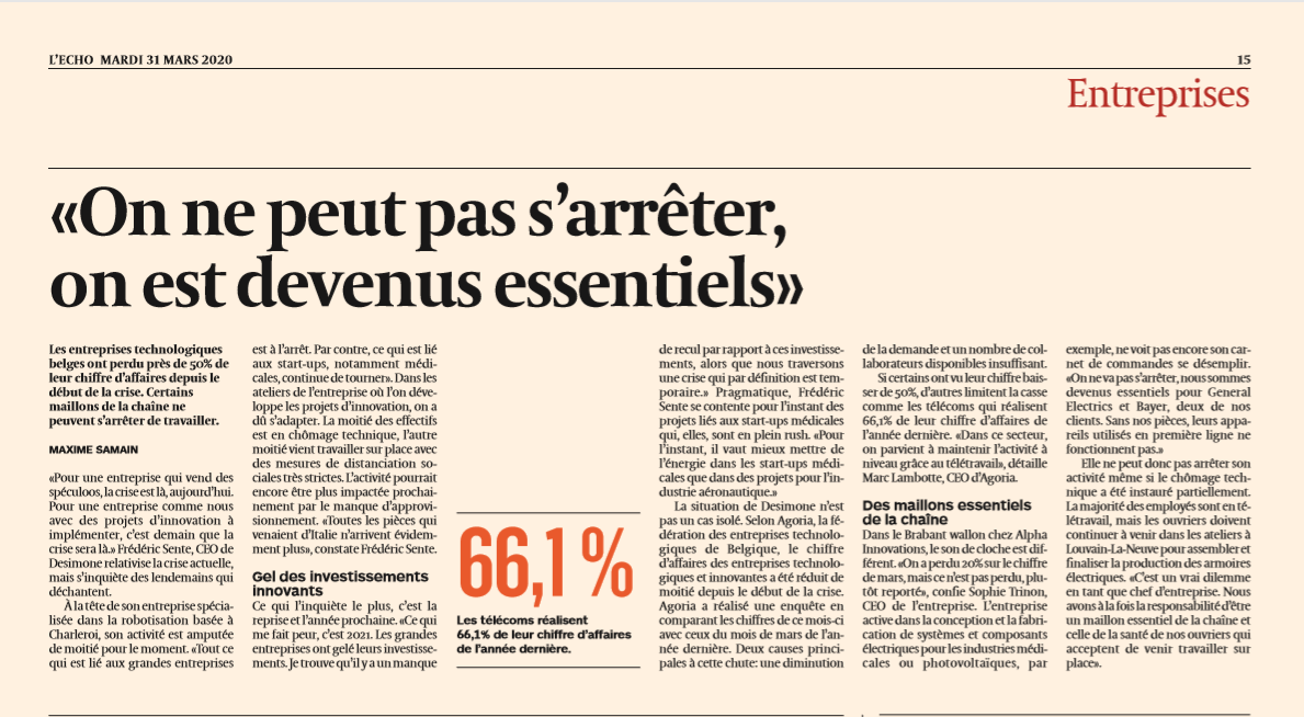 Article L'Echo - We have become essential
